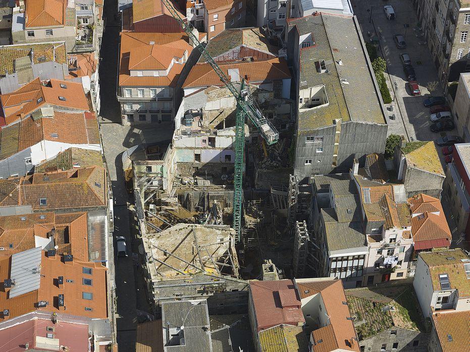 Obra de rehabilitación de varias parcelas para la nueva sede de Registradores de Vigo. (imagen propiedad de Constructora San José)