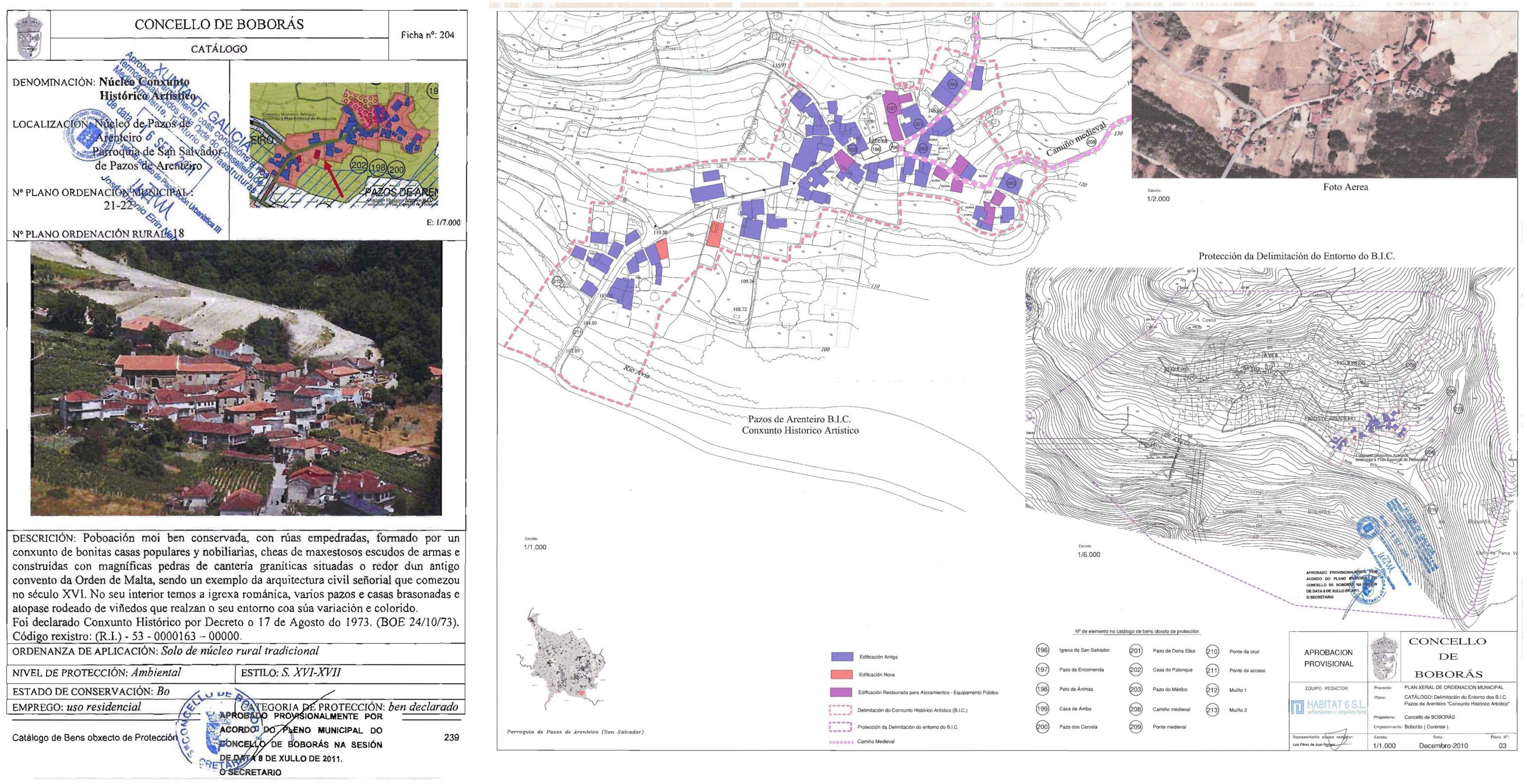 Ficha de catalogación del núcleo rural de Pazos de Arenteiro, Boborás, Ourense. Plan General de Ordenación de Boborás: núcleo conjunto histórico artístico.